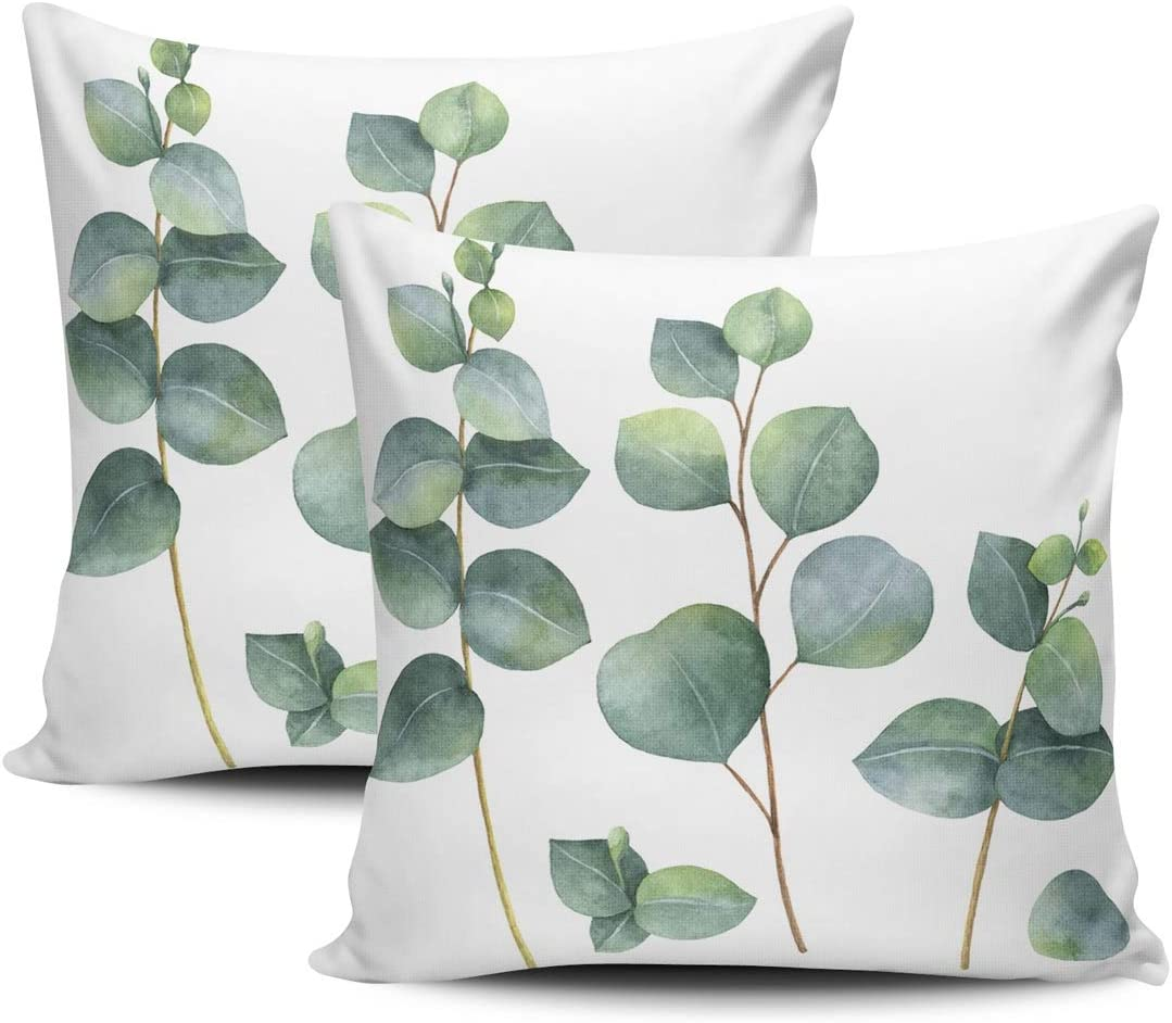 Kelemo Home Set Of 2 Pillow Case Watercolor Dollar Eucalyptus Leaves And Branches Throw Pillow Covers Cushion Decorative Pillowcase Doubled Sided Print Square 18 X 18 Inches Home Kitchen