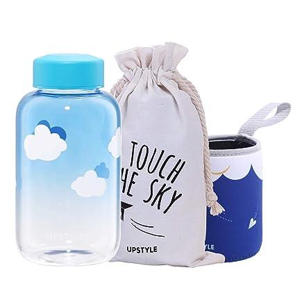 Botella de agua de cristal ecológico UPSTYLE con tapa ancha a prueba de fugas y botella