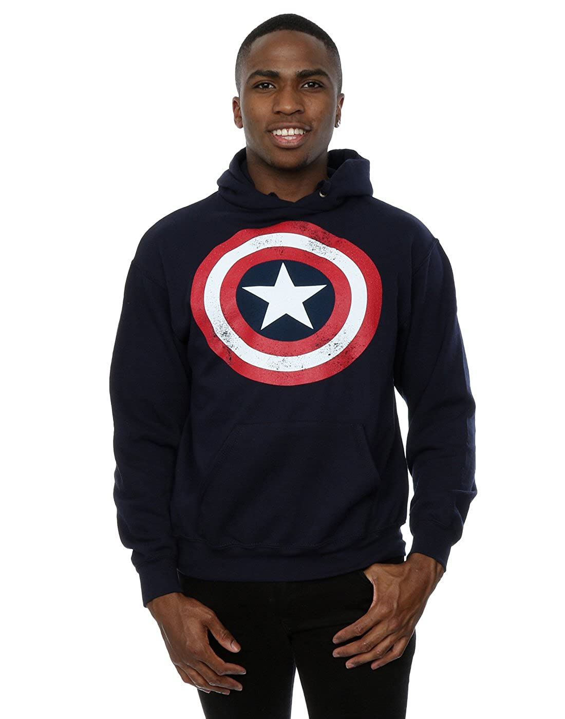 Marvel Homme Captain America Distressed Shield Sweat à capuche Absolute Cult