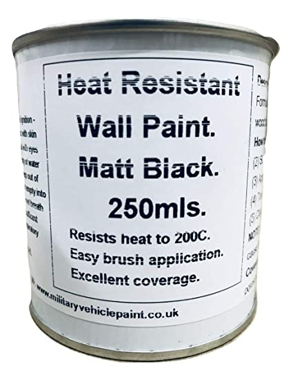 1 x 250 ml negro mate pintura resistente al calor. Para madera estufa de alcoba