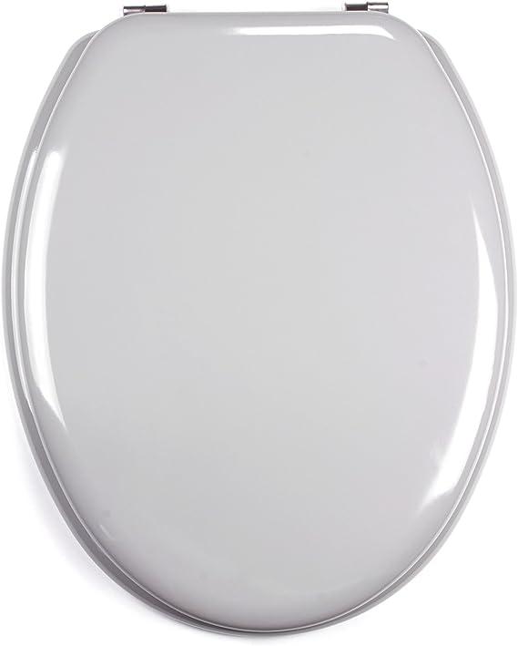 MSV 140016 WC-asiento, DM/acero inoxidable, 42,5 x 36,5 x 1,6 cm, gris: Amazon.es: Hogar