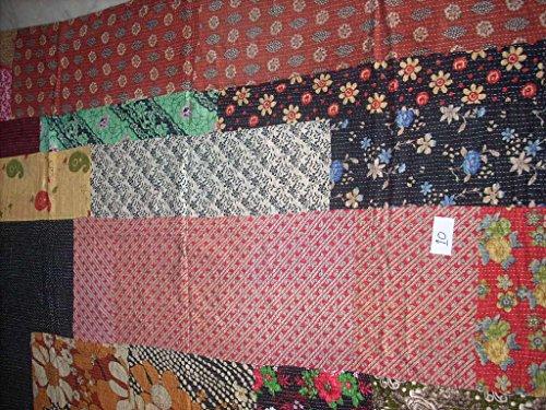 Reversible Stripe Scarf (Kantha Throw Blanket Vintage Quilt Sari Patchwork(stripes))