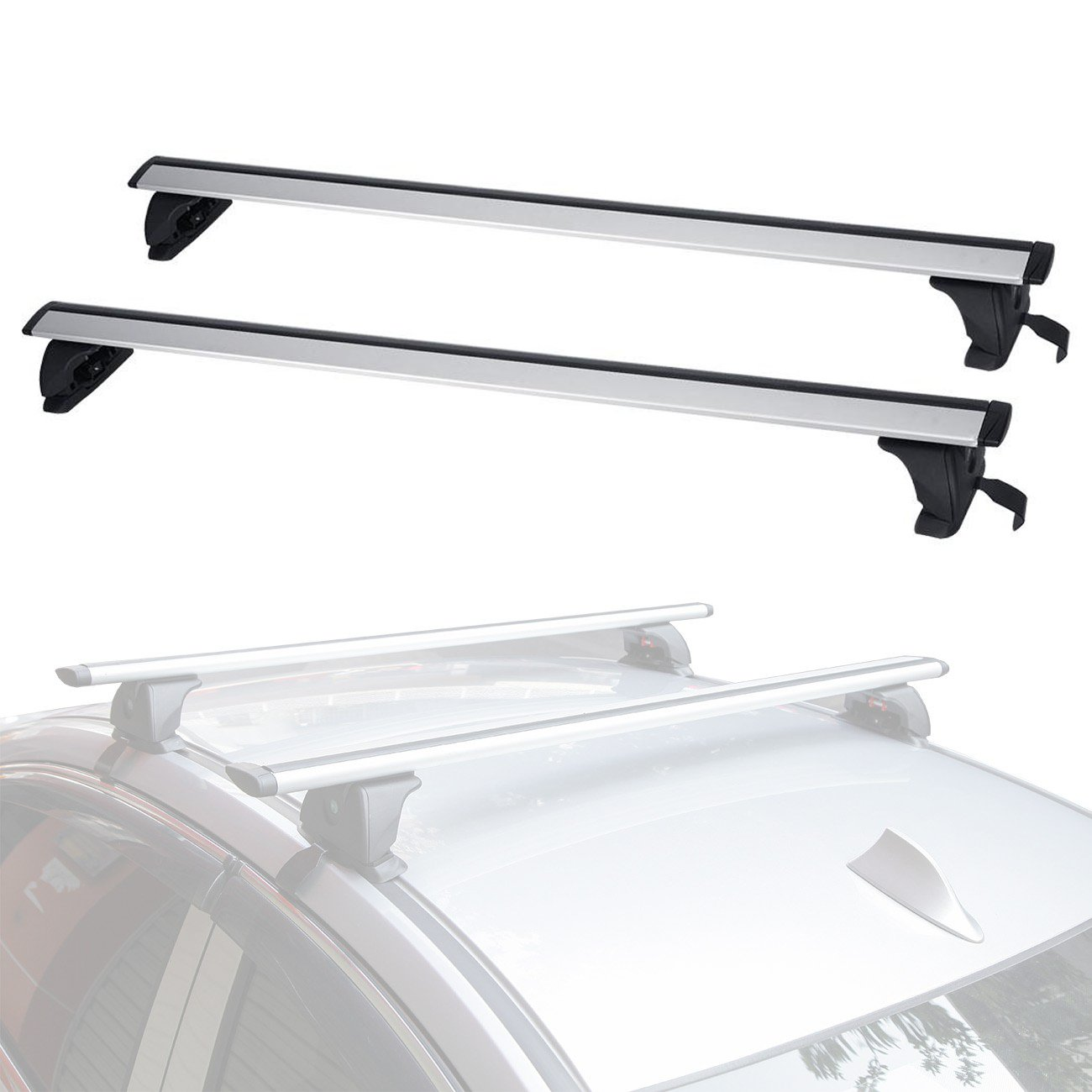 ALAVENTE Universal Roof Rack Cross Bar Set with Lock Adjustable for Most Vehicle Without Roof Side Rail (Pack of 2)