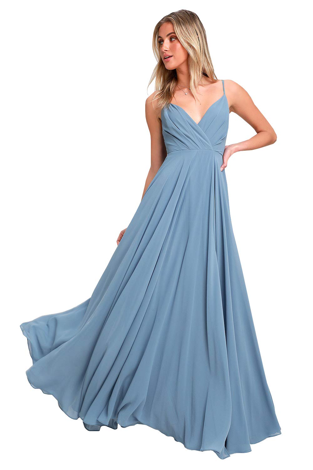 1a658ccaaf Yilis Women's Long A-line Bridesmaid Dress V-Neck Spaghetti Strap Wedding  Party Dress Dusty Blue US12