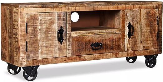 Lingjiushopping Mueble para TV Madera en Bruto de Mango 120 x 30 x ...