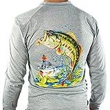 All-American pesca Ultimate Dri Fit playera de pesca UPF 30+ Hombre Manga Larga,  gris ( Bass Gray ), Medium