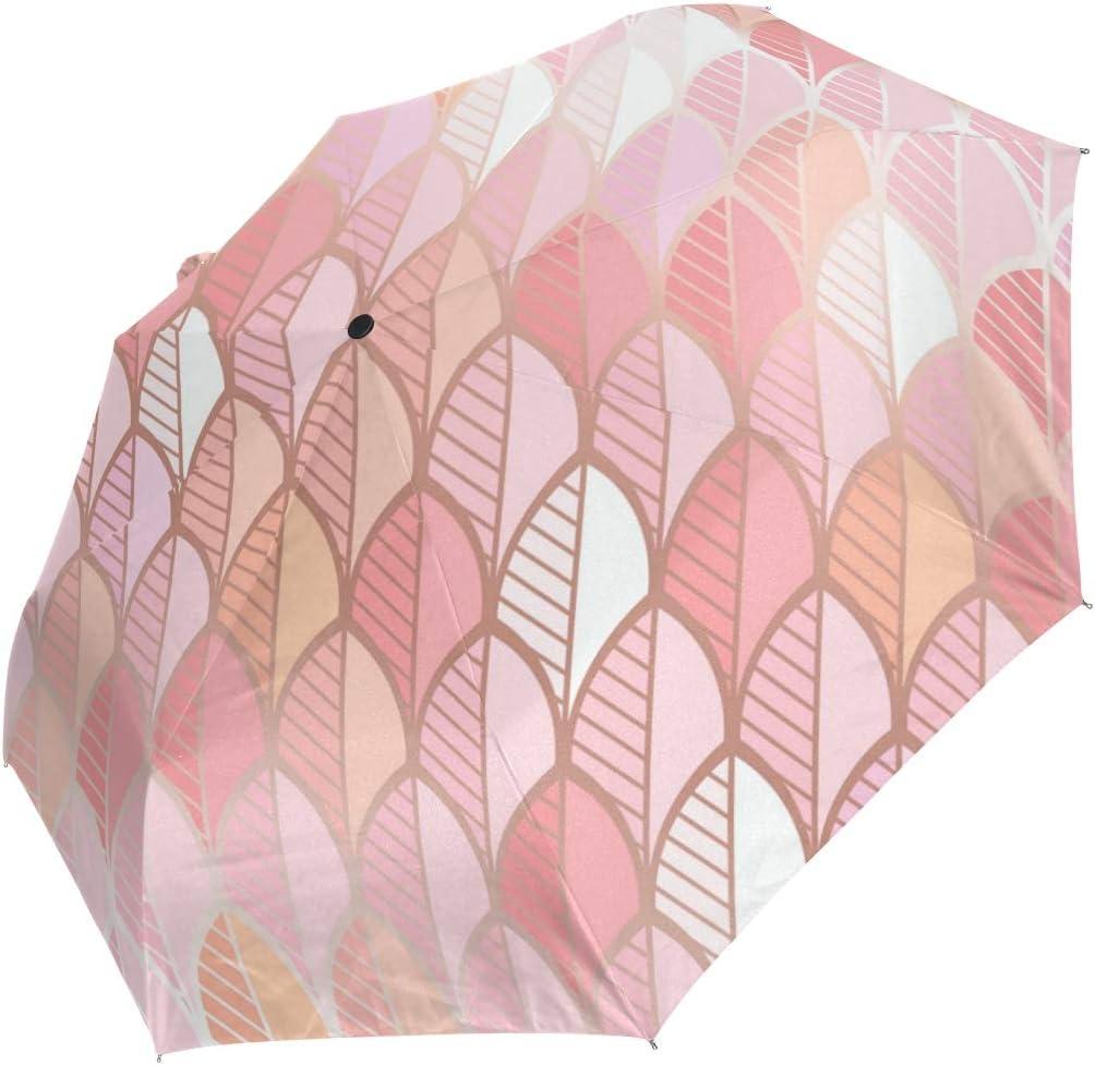 Rose Gold Leaf Umbrella Travel Girl Men Automatic Open Small Totes Rain Proof 3 Folding Sun Umbrellas For Women Uv Protective Ladies Amazon Co Uk Luggage
