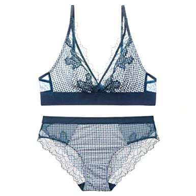7515e012c1 Women  s Push up Embroidery Bras Set Lace Lingerie Bra and Panties(Blue 32A