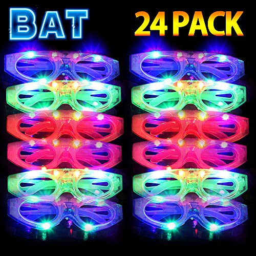 Light Up Sunglasses Bulk (HDHF 2020 Light Up Sunglasses Glow in The Dark Party Supplies 24 Pack LED Sunglasses,4 Color LED Glasses Light Up Plastic Bat Glasses for Adults Kids Neon Halloween Party Favor)