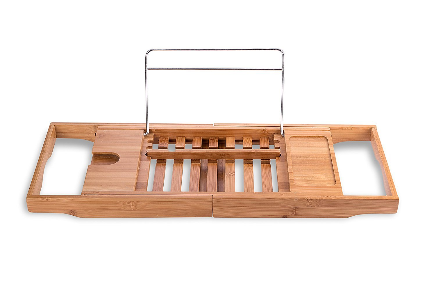 Luxury Bamboo Bathtub Tray / Shelf / Caddy with Extending Arms | Longer Lasting Durable Finish with Reinforced Frame | Spa / Bath Organizer, Book and Drink Holder