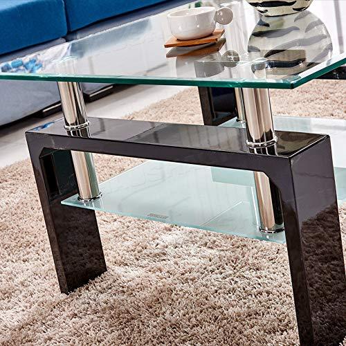 Generic qua soggiorno moderno Ffee tavolo sotto stoccaggio sotto ST quadrata in vetro temperato in vetro trasparente e tavolino rosso S Clear top in vetro Squa