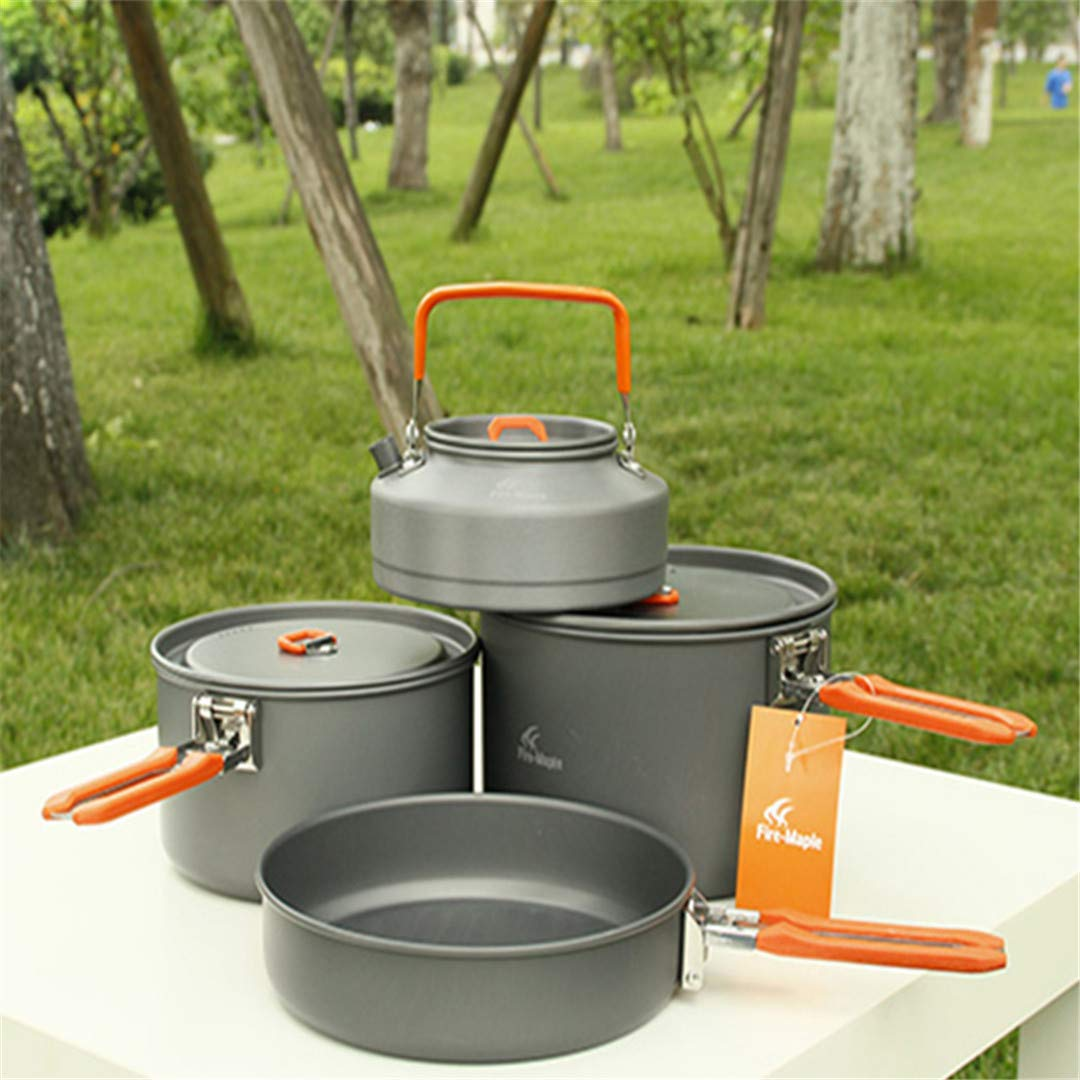 KEHAIWU 4~5人用調理器具セット 鍋&紅茶ポット&フライパン アウトドア キャンプ ハイキング ピクニック クッキングポットセット ファイアメープルフィースト 4   B07KWK6VP3
