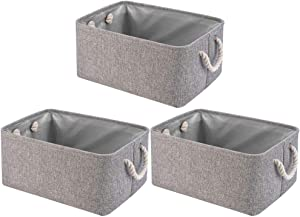 Perber Collapsible Storage Basket Bins 3 Pack Decorative Foldable Rectangular Linen Fabric Storage Box Cubes Containers with Handles- Large Organizer for Nursery Toys,Kids Room,Towels,Clothes, Grey