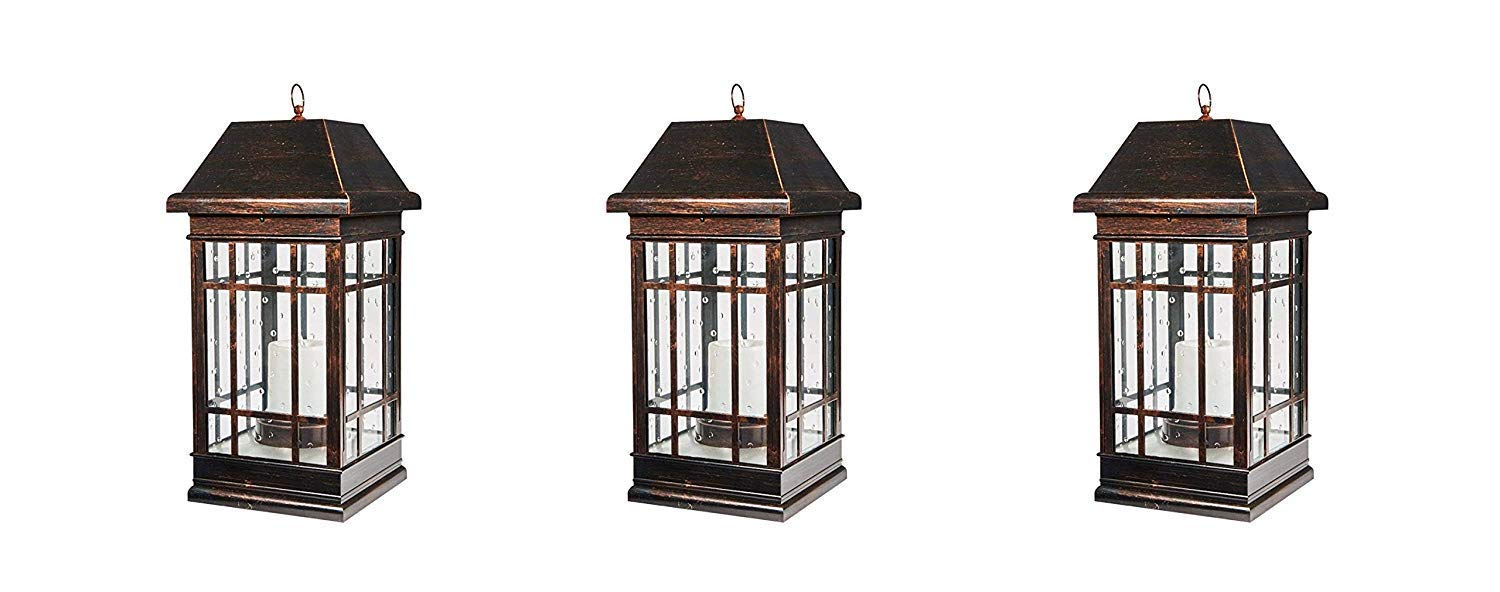 Smart Solar 3900KR1 San Rafael Mission Style Solar Lantern, Lantern is Illuminated by 2 High Performance Warm White LEDs in The Top, 22-Inch, Antique-Bronze (Pack of 3)