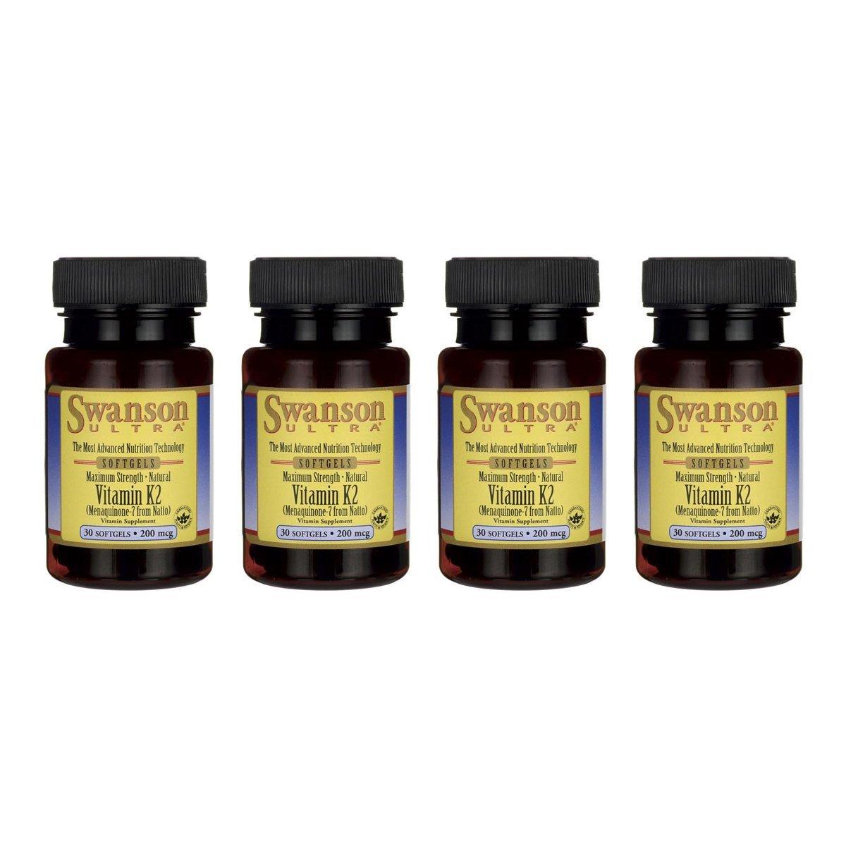 Swanson Real Food Vitamin K-2 - Maximum Strength 200 mcg 30 Sgels 4 Pack