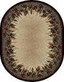 Rug Empire 3823 Rustic Lodge Mount Le Conte Area Rug, 5'3 x 7'3 Oval For Sale