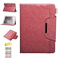 UUcovers iPad 9.7 inch 2018 2017(iPad 6th/5th Generation,iPad Air/Air 2/iPad Pro 9.7 Case, Bling Glitter Smart Folio Stand PU Leather Cover with Card & Apple Pencil Holder [Auto Wake/Sleep], Pink