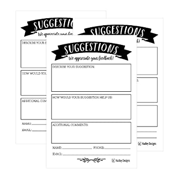Amazon 25 4x6 Feedback Comment Suggestion Card Forms For