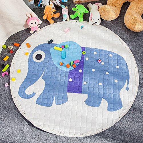 Large Kids Play Mat,Round Double Layer Foldable Toys Storage Bag,Extra-Thick Moisture-proof Crawling Rugs by CutePuppy (Elephant)