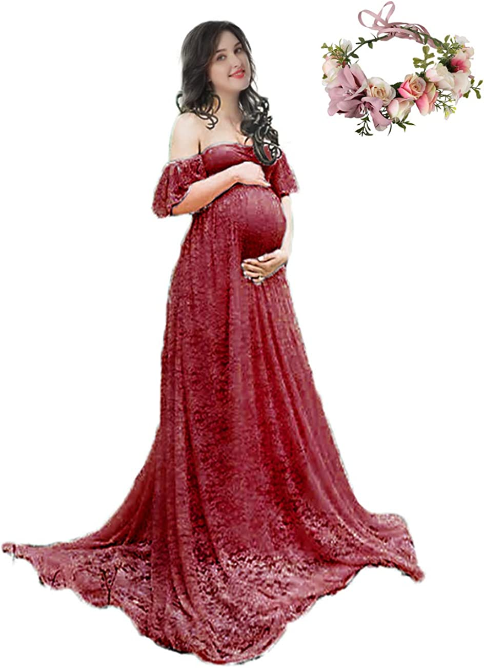 Women Yofeel Womens Off Shoulder Ruffle Sleeve Lace Maternity Gown Plus Maxi Photography Dress Clothing Accessories Postindustrial Com