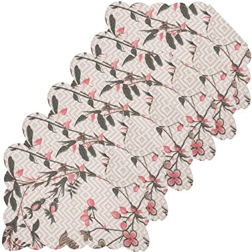 Blair Garden - C&F Home Blair Garden Cotton Quilted Oblong Rectangular Cotton Quilted Placemat Set of 6 Rectangular Placemat Set of 6 Tan