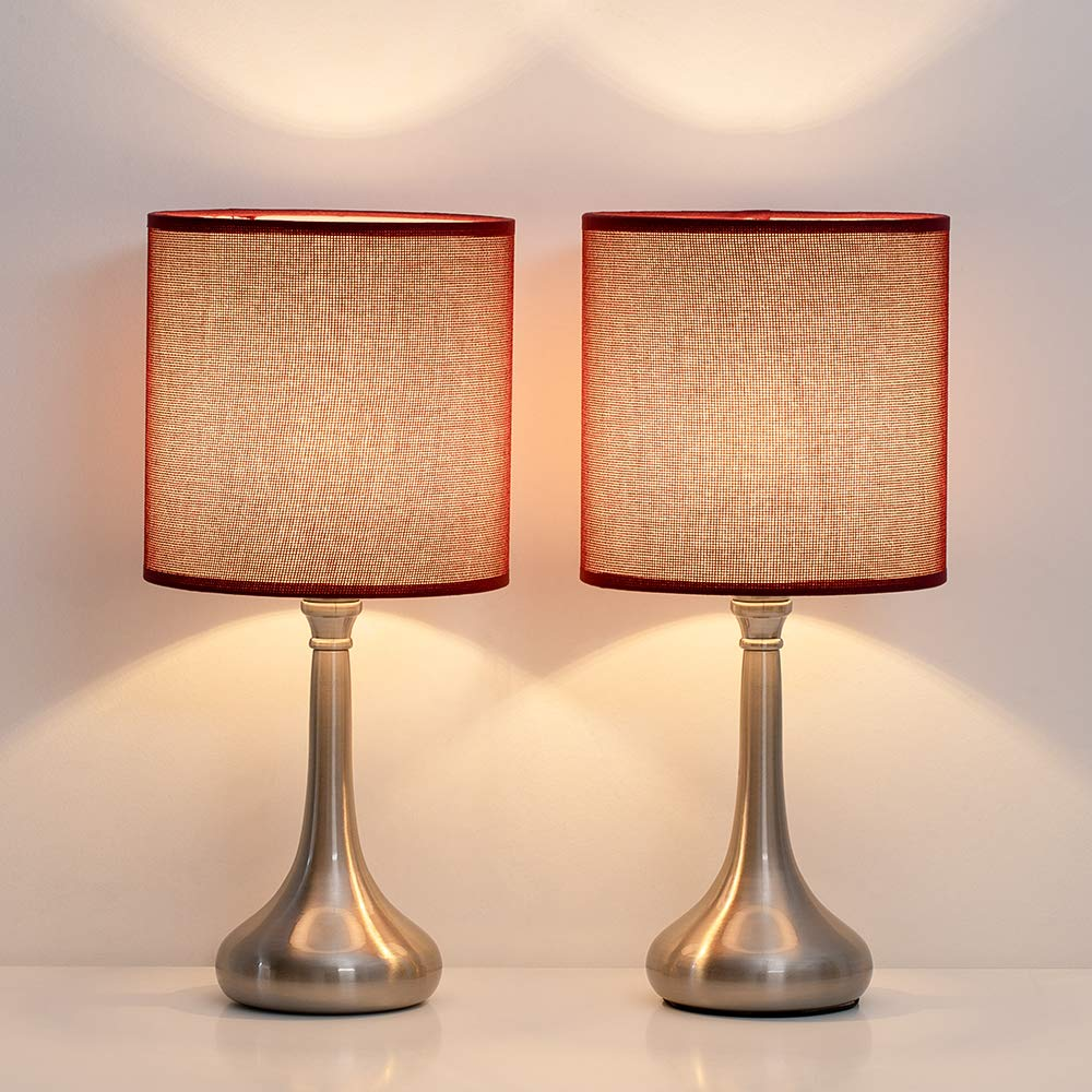 HAITRAL Table Lamps Set of 2 - Vintage Nightstand Lamps, Small Bedside Desk Lamps for Bedroom, Living Room, College Dorm, Kids Room with Metal Base and Fabric Lamp Shade - Dark Red (HT-BTL06-2R)