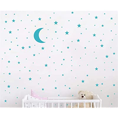 Moon and Stars Wall Decal Vinyl Sticker for Kids Boy Girls Baby Room Decoration Good Night Nursery Wall Decor Home House Bedroom Design YMX16 (Teal): Arts, Crafts & Sewing