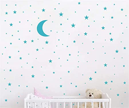 Moon Stickers And Stars Wall Decal Vinyl For Kids Boy Girls Baby Room Decoration