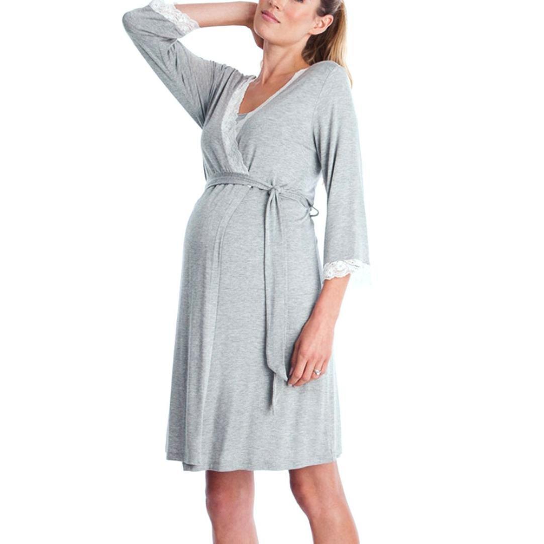 K-youth Ropa Premama Encaje Vestido de Lactancia Maternidad de Noche Camisón Mujeres Embarazadas Ropa de Dormir Premamá Pijama Verano Manga Larga Premamá Embarazo Lactancia
