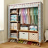 GL&G Portable Clothes Closet Wardrobe ,Storage Organizer with Oxford cloth Fabric Clothing & Wardrobe Storage Reinforcement of steel pipes Wardrobe Shelves,C,68''51''