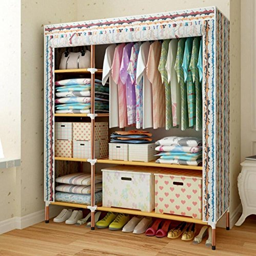 GL&G Portable Clothes Closet Wardrobe ,Storage Organizer with Oxford cloth Fabric Clothing & Wardrobe Storage Reinforcement of steel pipes Wardrobe Shelves,C,68''51'' by GAOLIGUO