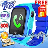 [SIM Card Included] Kid Smart Watch Phone GPS Tracker WiFi Location IP68 Waterproof Girls Boys Back School Fitness Tracker SOS Camera Anti-Lost Sport Swim Pedometer Live Mobile App iOS/Android