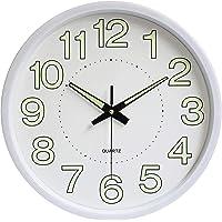 12 Inch Luminous Silent Quartz Wall Clock For Indoor Outdoor Glow In The Dark - White