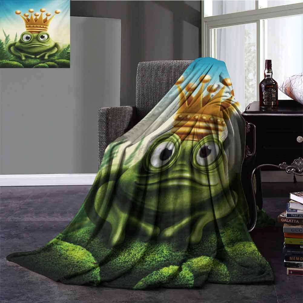 King Silky Soft Plush Blanket Frog Prince on Moss Stone with Crown Fairytale Inspired Cartoon Image Baby Small Fleece Blanket Full Size Forest Green and Yellow 70x90 Inch