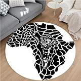 Nalahome Modern Flannel Microfiber Non-Slip Machine Washable Round Area Rug-tration Of Africa Continent Map As A Animal Skin Wilderness Species Art Print Black White area rugs Home Decor-Round 71''