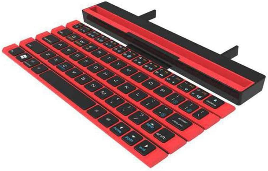 Color : Red Portable Reel Keyboard Suitable for All Mobile Tablet Ipad Outdoor Office Wireless Bluetooth