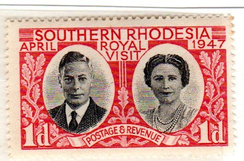 Postage Stamps Southern Rhodesia (Rhodesia). One Single 1p Carmine & Black King George VI & Queen Elizabeth Stamp Dated 1947, Scott #66.