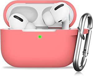 GMUDA for AirPods Pro Case,Protective Silicone Cover with Keychain, Compatible with Apple AirPods Pro, Front LED Visible (Coral)