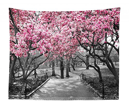 Lunarable NYC Tapestry King Size, Blossoms in Central Park Landscape with Cherry Trees Forest in Spring Season Picture, Wall Hanging Bedspread Bed Cover Wall Decor, 104
