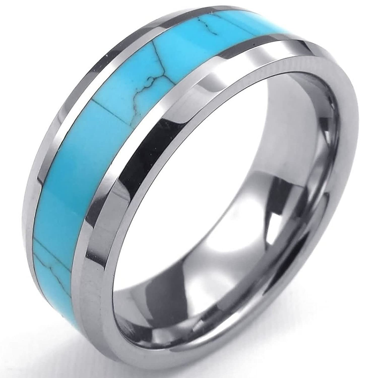 Amazon.com: ANAZOZ Vintage Style 8MM Tungsten Blue Two Tone Wedding Engagement Ring Bands: Jewelry