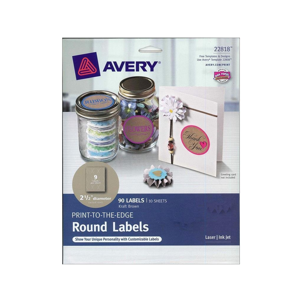 "Avery Round Labels for Laser & Inkjet Printers, 2.5"", 90 Kraft Brown Labels (22818)"