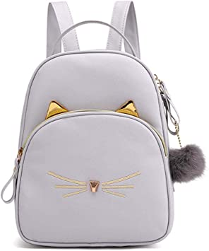 Ueb Sac à Dos Fille Chat De Dessin Animé Adolescents En Cuir Pu Sacs à Bandoulière Cartoon Chat Satchel Gris