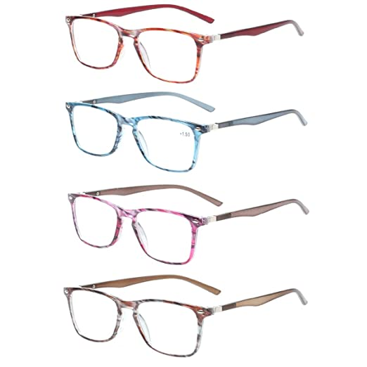 0956c0d355 Reading Glasses set of 4 Great Value Spring Hinge Colorful Readers Men and  Women Glasses for