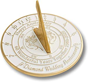 Nautical-Mart 60th Diamond Wedding Anniversary Sundial Gift Idea is A Great Present for Him, for Her Or for A Couple to Celebrate 60 Year of Marriage (60th Anniversary)