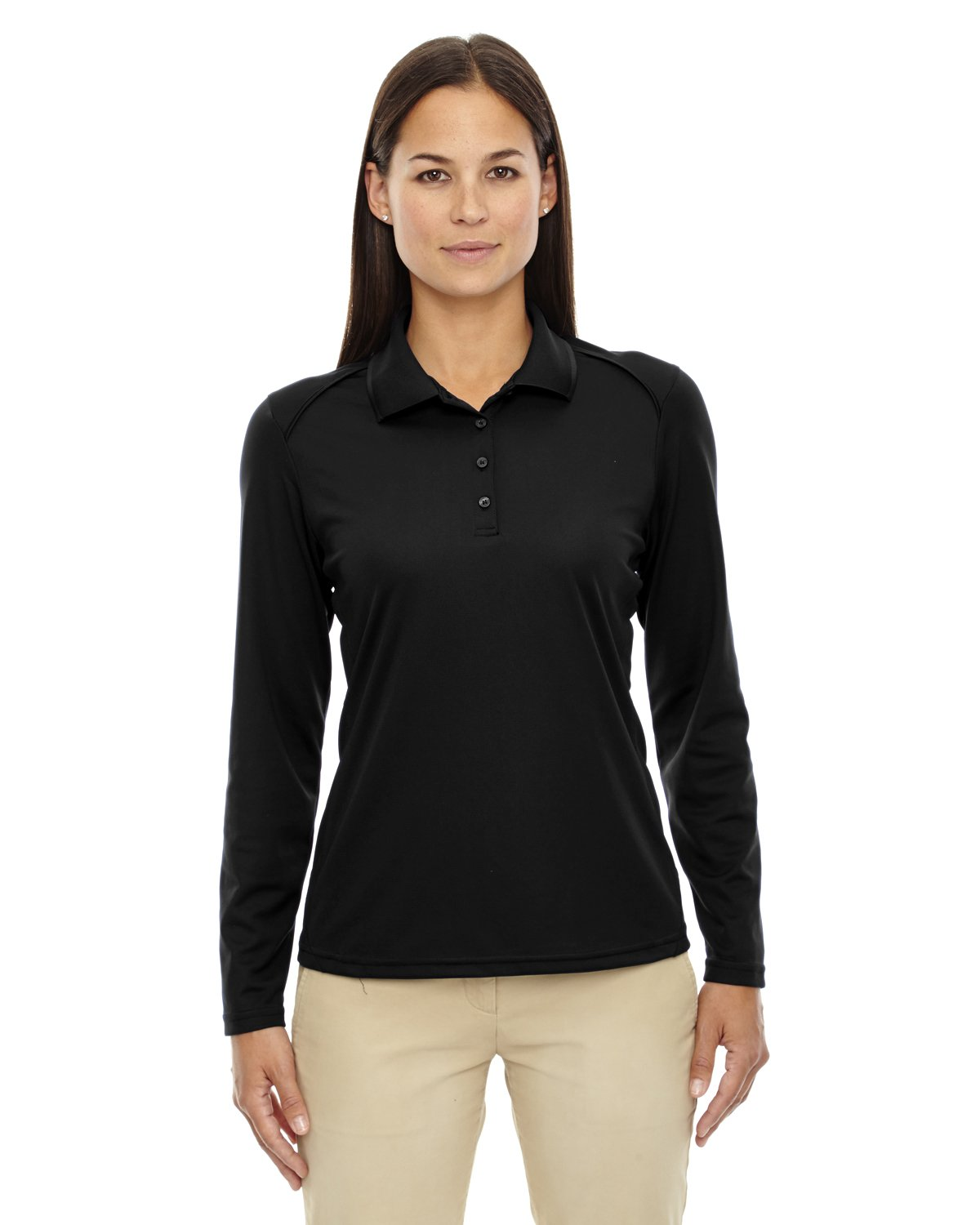 Ash City Ladies Armour Long Sleeve Polo (Large, Black) by Ash City Apparel