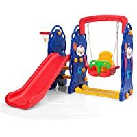 Costzon Toddler Climber and Swing Set, 4 in 1 Climber Slide Playset w/Basketball Hoop, Toss, Easy Climb Stairs, Kids Playset for Both Indoors & Backyard (3-in-1 Bear Slide & Swing Set)