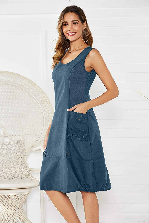 Yidarton Damen Kleider Strand Elegant Casual A-Linie Kleid ...