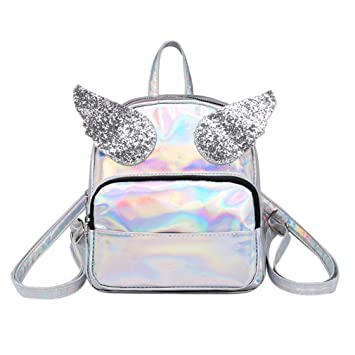 4495e5de4092e Image Unavailable. Image not available for. Color  Kimloog Lightweight  Backpack Sequins Wings Laser School Bag Small ...