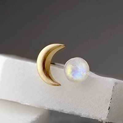 Gold Mismatched Moonstone Earrings Crescent Moon Earrings With Rainbow Moonstone Stud Earrings For Women Sterling Silver