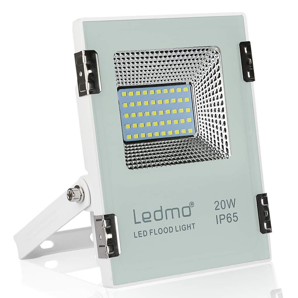 LEDMO 20W Led strahler außen 1900LM led fluter aussen 6000K Kaltweiß IP65 Wasserdicht led scheinwerfer Aluminiumgehäuse [Energieklasse A+] Oslar